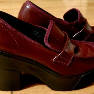 Topshop Dark Red Chunky Loafer Heels Size 7